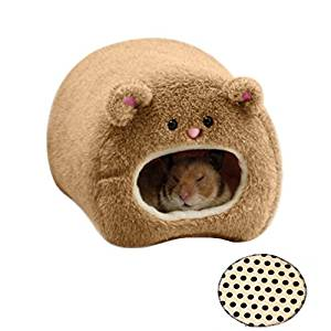 Rats Winter Warm Fleece Hanging Cage Hammock Cute Bear House with Bed Mat, Brown